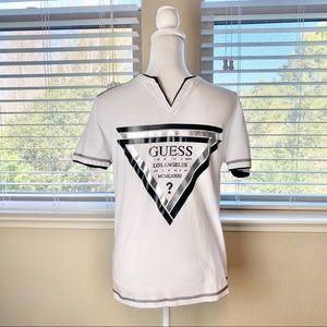 Guess - men's white v-neck tee shirt